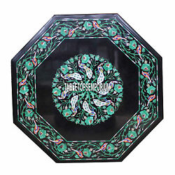 30 Marble Black Top Console Table Malachite Peacock Inlay Art Living Room Decor