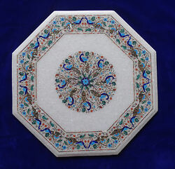 24 Marble Coffee Table Top Foyer Furniture Peacock Marquetry Garden Decorative