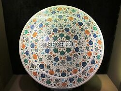 30 Marble Round Top Coffee Table Multi Floral Marquetry Inlay New Year Decor