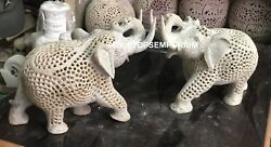7 Hand Carved Marble Elephant Lattice Hand Carving Work Thanksgiving Gift E163