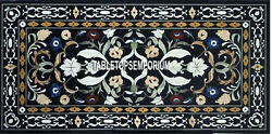 2.5'x5' Black Marble Dining Center Table Top Gemstone Inlay Furniture Home Decor
