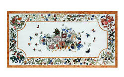 2.5and039x5and039 White Marble Dining Top Table Semi Precious Butterfly Arts Inlay Decor