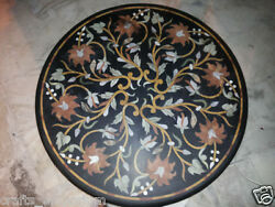 42 Floral Black Marble Center Dining Table Top Mosaic Inlay Living Room Decor