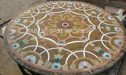 36'' Inlay Round Side Mosaic Coffee Marble Top Table Hallway Furniture Gift E342