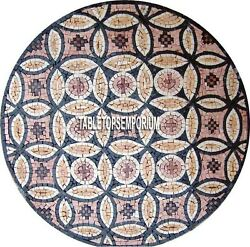 48and039and039 Antique Marble Round Table Top Collectible Small Piece Stones Mosaic Decors