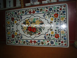 48x30 White Marble Dining Table Top Inlay Marquetry Pietra Dura Handmade Decor