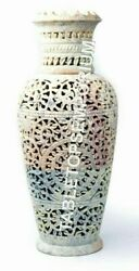 12 Natural Soap Stone Hand Curved Flower Vase Decorative Collectible Home...