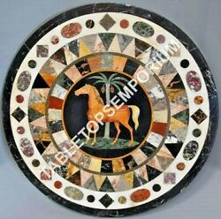44 White Marble Dining Table Top Horse Inlay Mosaic Stone Furniture Decor E596