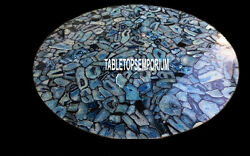 36and039and039 Random Work Black Marble Dining Top Table Marquetry Inlay Furniture Decor