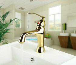 Gold Bathroom Sink Brass Faucet Single Handle/hole Mixer Basin Taps Deck Mounted