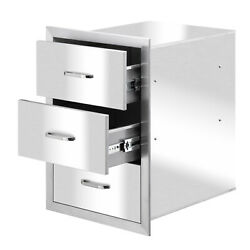 16x 21 In Outdoor Kitchen Bbq Components Stainless Steel Access Triple Drawers