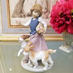 Rare Lladro Girl And Dog Vintage 5761 Out For A Romp Figurine