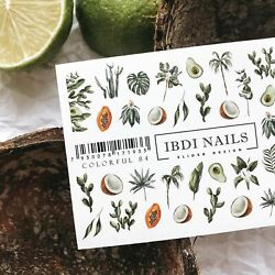 IBDI Tropical fruit and palm nail decals sliders #Colorful 84