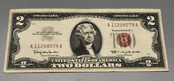 1963 2 Two Dollar Us Red Seal Jefferson Note Bill Us Currency Crisp 405