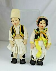 Two Vintage Lenci Italy Mascotte Dolls In Ethnic Costumes