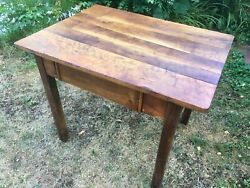 Antique Farmhouse Table Working Desk With Drawer Wooden Pastry Table