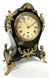 Antique Single Chain Fusee Ebonised And Ormulu Mantel Clock Payne And Co London
