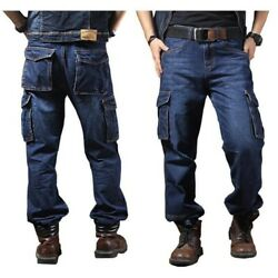 Men Jeans Straight Cargo Trousers Casual Cotton Overalls Loose Seasons Plus Size