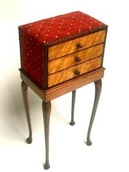 Antique Walnut Upholstered Chest Of Drawers On Stand [ 6816 R ]