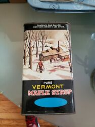 Vintage Maple Syrup Tin Container State Of Vermont Used Empty Can