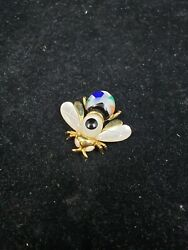Asch Grossbardt Vintage 14k Yellow Gold And Semi-precious Bumblebee Brooch/pin