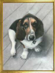 Signed Gamb Or Gumb Oil Painting On Canvas Basset Hound Dog