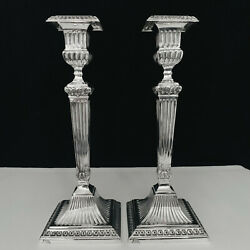 Stunning Solid 925 Sterling Silver Pair Candlesticks By Topazio Portugal