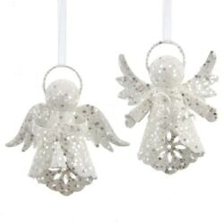 Set Of 2 White With Silver Glitter Angel Ornaments D3916    W