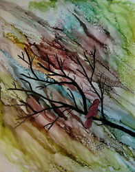 Original 11x14 Colorful Sky Branches Red Bird Painting By Lynne Kohler
