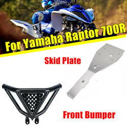 Front Bumper Guard+full Chassis Glide Skid Plate For Yamaha Raptor 700 / 700r