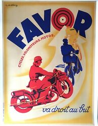 Original Vintage Art Deco Motorcycle Poster, Favor By Mathey, 1934