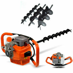 71cc Earth Auger Fence Post Hole Digger Drill Soil Digger Borer W/ 4 6 8 Bits
