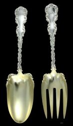 Antique Whiting Louis Xv 1891 Gold Wash Serving Fork Spoon Set