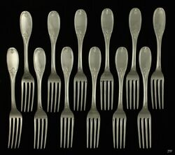 12 Jones Ball And Poor Coin Silver Olive Pattern Forks