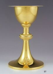 Handsome International Sterling Silver Gold Washed Communion Chalice And Patten
