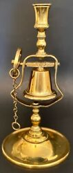 Vintage Cast Brass English Pub Candlestick W/ Bell, Striker, Wheel And Pull Chain