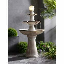 Large Water Fountain Ceramic Tiered Led Light With Pump Garden Backyard Outdoor