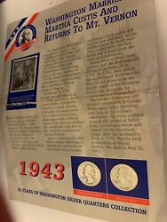 1943 P And D Silver Washing Quarters And 60 Guyana Stamp On Card