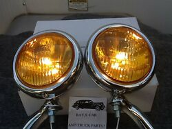 New 6 Volt Small Vintage Style Fog Lights With Chrome Brackets