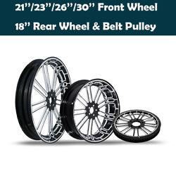 Front Wheel And 18'' Rear Wheel Rim Hub Belt Pulley Fit For Harley Road King 08-21