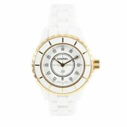 J12 Stainless Steel And Ceramic Watch 33mm Case White Dial / 17cm Strap