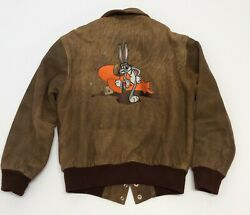 Vintage Acme Clothing Warner Brothers Bugs Bunny Brown Leather Bomber Jacket Sm