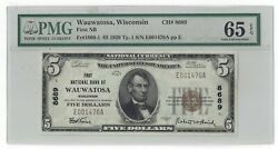 1929 Ty.1 First National Bank Of Wauwatosa, Wisconsin 5 Pmg 65 Epq Top Pop
