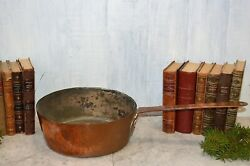 Antique French Copper Tin Large 11 Stock Sauce Pot Pan Kitchen Kettle Cookware