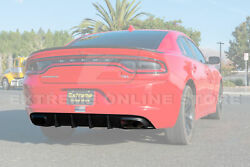 Srt Style Rear Bumper Dual Exhaust Diffuser For 15-up Dodge Charger Base Model