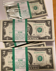 Rare Mint 2017-a Two Dollar 2 Bill Pack Of 100 Notes Boston Series 2017 A Wow