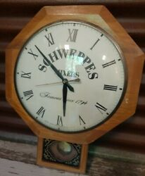 Vintage Advertising Schweppes Ad United Electric Walnut Man Cave Wall Clock