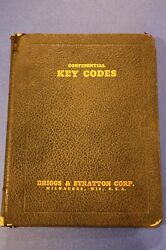 Vintage 1938 Briggs And Stratton Confidential Key Codes Manual Book Indian Harley