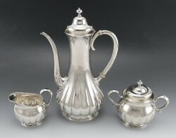 3pc Antique C1910 And Co Sterling Silver Demitasse Tea Set