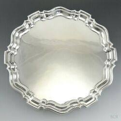 Georgian Style English Solid Sterling Silver Round Tea Or Serving Tray